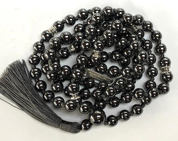 8 mm Genuine Knotted Hematite Mala Beads Necklace, 108 Energized Hematite Healing Mala, Magnetic Mala Necklace, Silver Magnet Mala Beads Nec