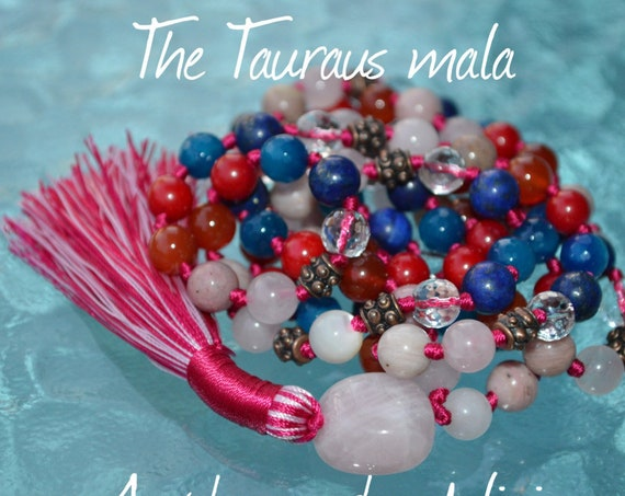 The Ultimate Taurus mala Zodiac mala, Taurus sunsign necklace, astrological taurus mala beads necklace, Taurus mala beads for Taurians