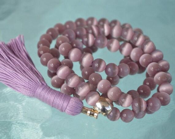 8mm Purple Cat's eye Glass Beads Mala Necklace 108 Prayer Beads