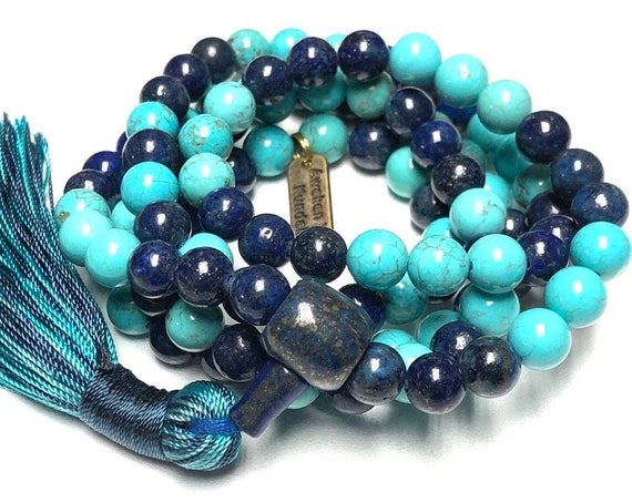 friendship lapis turquoise mala bracelet yoga bead necklace jewelry gift for friends knotted 108 bead prayer beads gifts for him gifts her