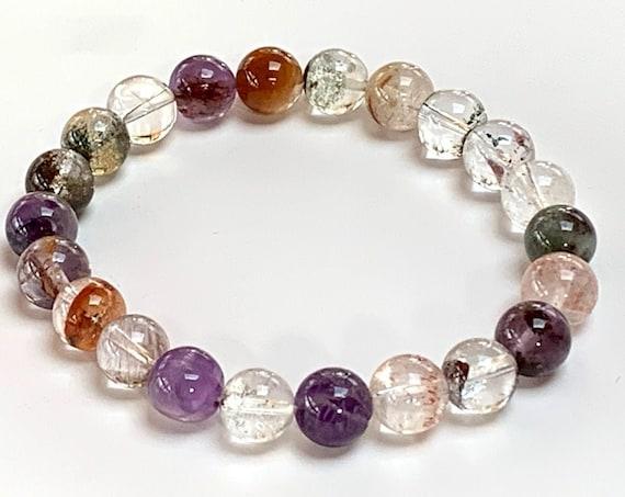 AAA Grade Super Sacred Seven Stone Mala Beads Bracelet, Melody Stone Healing Bracelet, cleansing, energizing, elevating spiritual growth