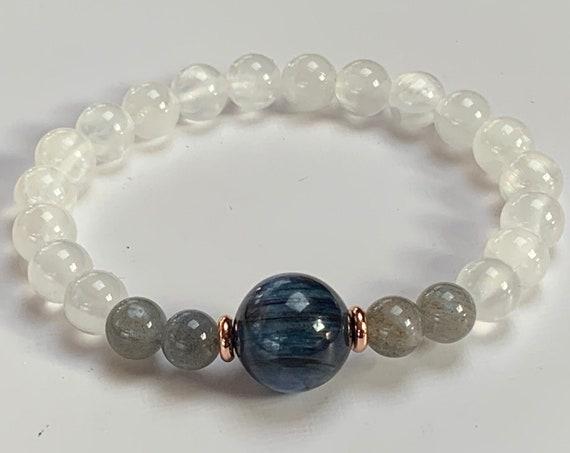 AAA Kyanite Labradorite & Selenite Psychic bracelet Jewelry Crown Chakra Soul Chakra Crystal Good luck crystal bracelet white blue gray ston