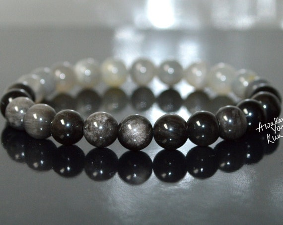 Natural Gray Tiger eye Hawks Eye Bracelet Chrysoberyl Cat's Eye mens jewelry fashion mens gift for him gemstone beads natural stone bracelet