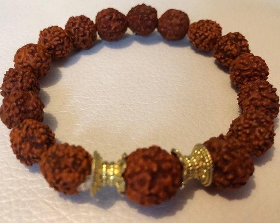 Rudraksha seed beads beaded bracelet Rudraksha wish bead bracelet Rudraksh jewelry stretch bracelet 5 mukhi 5 faced bracelet for men women