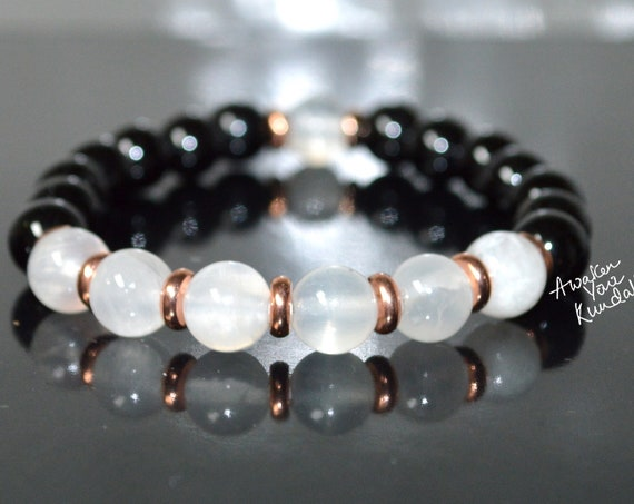 Black Tourmaline Bracelet Selenite. Minimalistic. Empaths. Protection. Disperse Negative Energy. Unisex Bracelets.