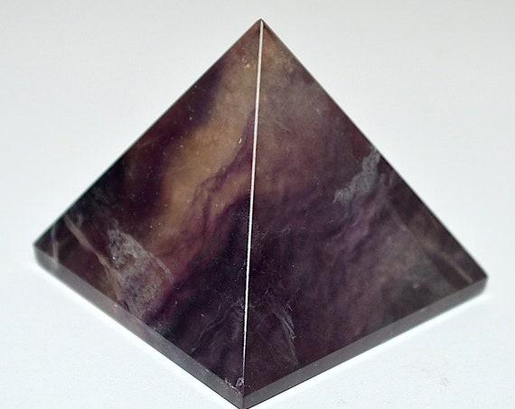 Purple Fluorite Chakra Pyramid Reiki Healing Crystals and Stones, Rose Quartz Clear Quartz Gemstone Energy Pyramid stones pendulum, Reiki