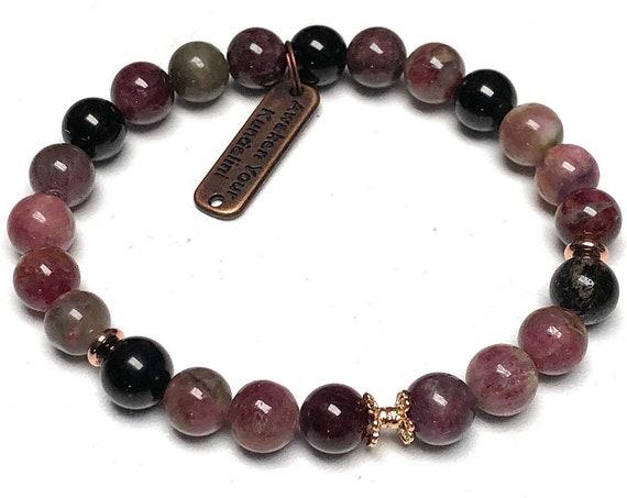 Watermelon tourmaline bracelet protection bead bracelet watermelon tourmaline jewelry women energy healing bracelet for men tourmaline gift
