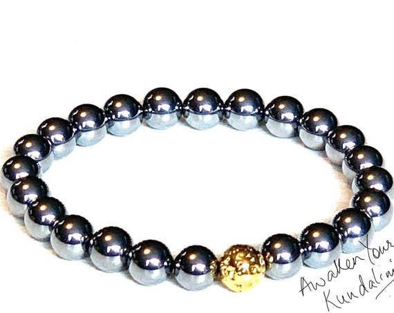 Genuine 8 mm Terahertz Beads Tera Hertz Crystal Bracelet Quantum Energy Terahertz Mala Diffuser Bracelet healing bracelet stretch Beaded AAA
