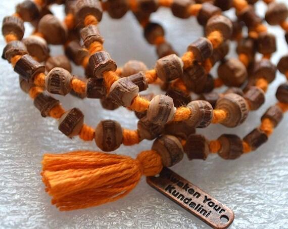 Tulsi Mala Beads Necklace Knotted Tulsai Japa Mala Necklace Tulsi Kanthi Prayer Beads Tulsi Mala Beads wood mala bead Holy Basil mala beads
