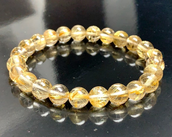 AAA Golden Rutilated Quartz Bracelet Spiritual Guidance Clarity Manifestation Psychic Ability gifts for dad boyfriend husband grandpa men