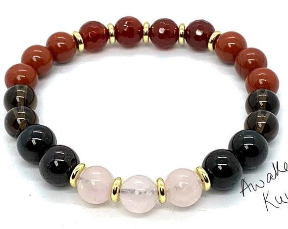 Red Jasper Garnet Smokey Quartz Rose Carnelian Mala beads Bracelet Crystals for Sex & Intimacy, Stability, Physical need, Aids Sexual life