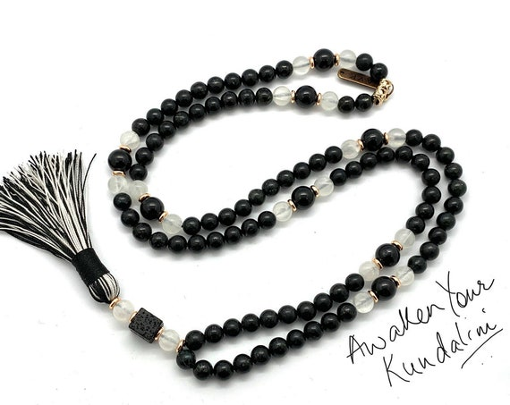 Rare Astrophyllite Selenite Tourmaline Mala Necklace Beaded Mala AAA Grade Marriage Crystals and Stones Crown & Soul Chakra one of a kind