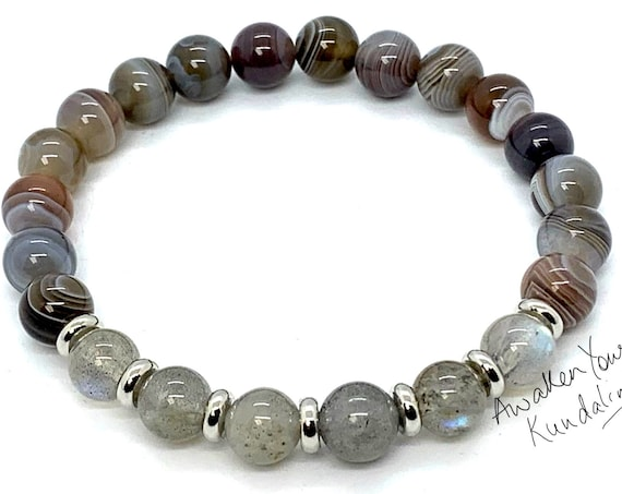 8mm/10mm Botswana Agate Labradorite Bracelet, Healing Crystal Bracelet and Stones, Bracelets for Women, Mothers Day Gift, Gift for Her