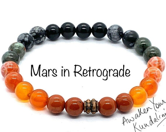 Crystals for Mars in Retrograde Mars Beads Bracelet Planetary retrograde natal terraforming Veronica mars planet bracelet healing crystals