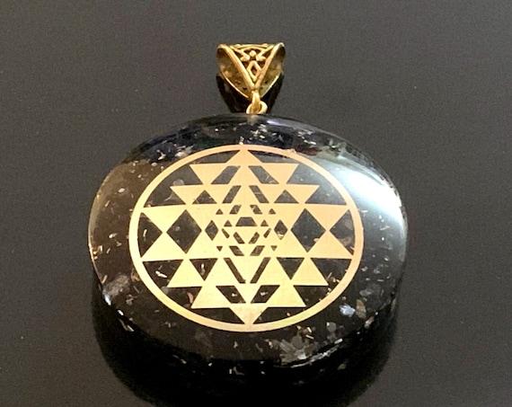 Elite Shungite Pendant, Orgonite, Copper, Gold, Shri Yantra, Shree Sri Yantra, Organite, Orgone, Best Christmas Gifts for him for her dad