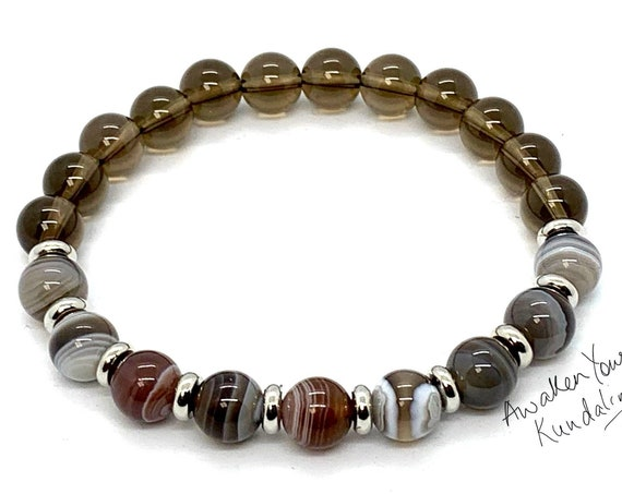 8mm/10mm Botswana Agate Bracelet, Healing Crystal Bracelet, Healing Crystals and Stones, Smokey Quartz Women, Mothers Day Gift, Gift for Her