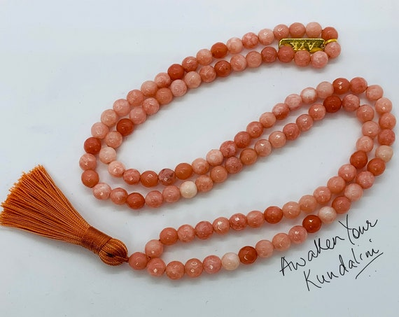 Orange Jade Agate Prayer Beads Hand Knotted Mala Beads Necklace - Heart Chakra, Nirvana, For Stress Relief, Spiritual Power