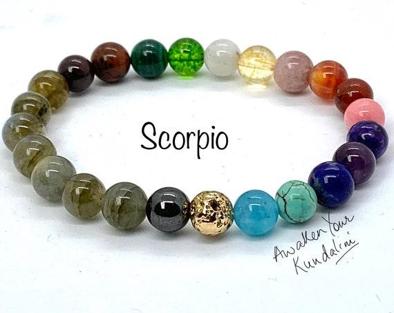 Scorpio Zodiac Sign Powerful Crystals Bracelet - Zodiac birthstones Citrine Obsidian Malachite Turquoise Fire Agate Labradorite Peridot gold