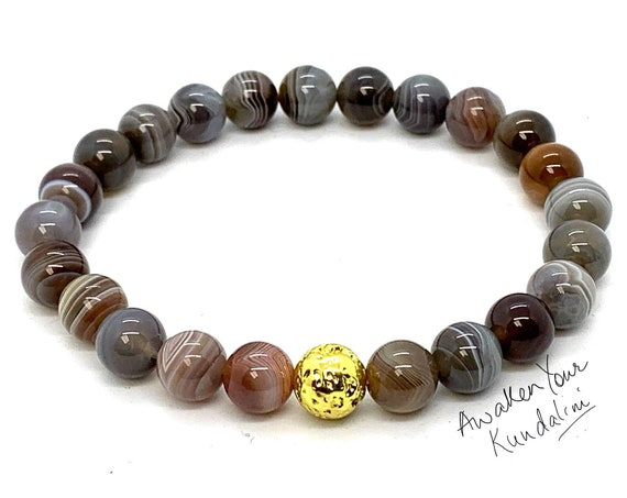 8mm/10mm Botswana Agate Bracelet, Healing Crystal Bracelet, Healing Crystals and Stones, Bracelets for Women, Mothers Day Gift, Gift for Her