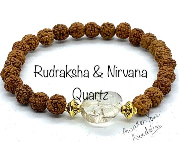 Rudraksha seed beads beaded bracelet Rudraksha wish Nirvana Quartz Rudraksh jewelry stretch bracelet 5 mukhi 5 faced bracelet for men women