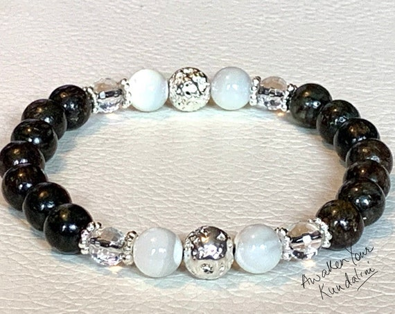 Rare Astrophyllite Selenite Tourmaline Mala Bracelet Beaded Mala AAA Grade Marriage Crystals and Stones Crown Star & Chakra Healing one of