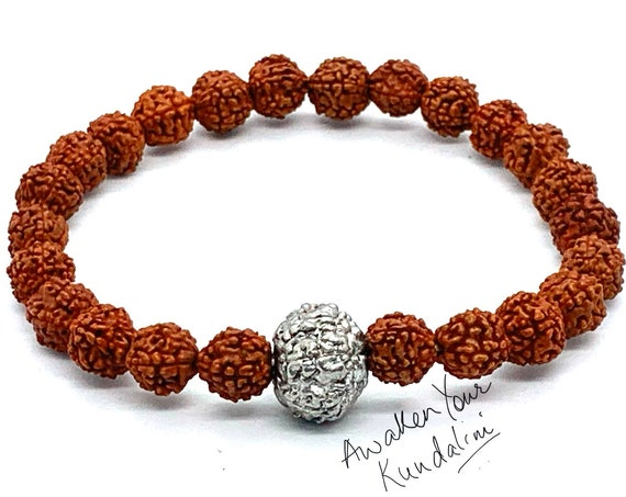 Energized & Blessed Natural Rudraksha Mala beads bracelet, Rudraksha, Parad bracelet, Stretch Wrist bracelet, Mercury Beads, Healing Bracele