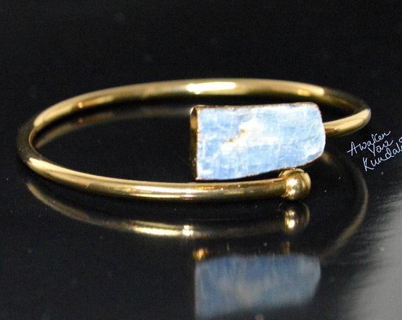 KYANITE Bangle Bracelet * Gold Plated 18k or Silver Plated * Gemstone * Gypsy * Hippie * Adjustable * Statement * Stacking *Christmas