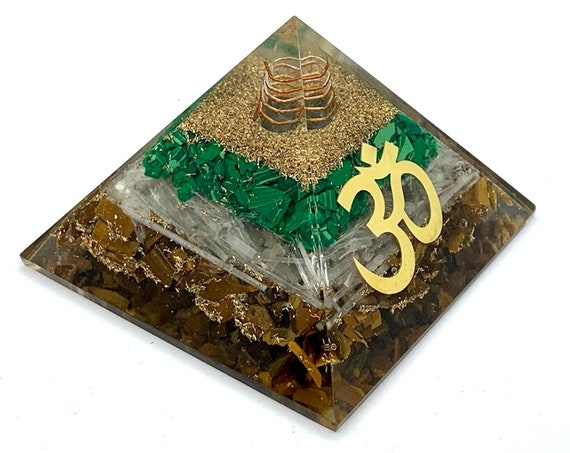 "AUM Om Orgone Pyramid EMF Protection Orgonite with Holistic Symbol Charged Crystal Orgone / Organite Device for Home Office Decor 3""x3"" Inch"