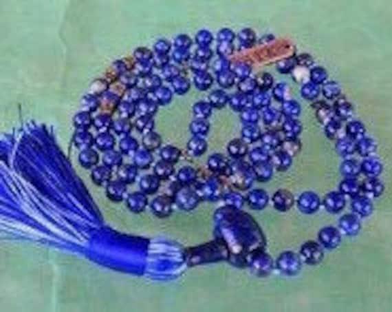 108 Blue Lapis Mala Beads Necklace Yoga Gift 108 Mala Beads Japa Mala Yoga Jewelry Yoga Gift Mala Lapis Lazuli 108 Prayer Beads