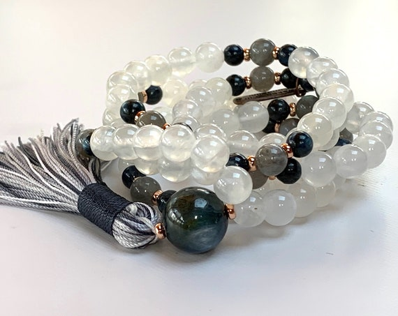 Energized Selenite Mala Necklace Blue Kyanite Labradorite Mala Beads Soul Chakra Crown Chakra Crystals Psychic Ability Telepathy AAA Grade