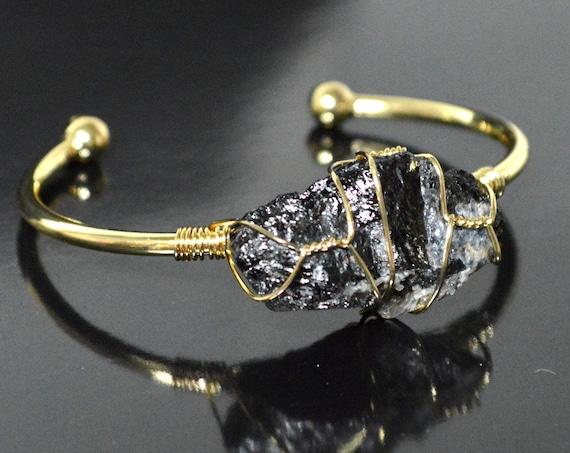 Gold Bangle, Raw Black Tourmaline Cuff Bracelet   rough stone, tourmaline jewelry, raw gemstone, black stone jewelry, gift for her, chunky