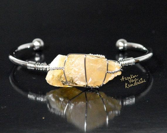 Raw Citrine Cuff Bracelet | gold bangle, rough stone, Citrine jewelry, raw gemstone jewelry, gift for him & her, chunky citrine bracelet