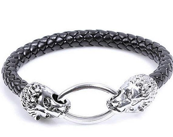 mens bracelet lion bracelet beaded bracelet african bracelet dark brown bracelet men jewelry gift for husband Energy Bracelet stone animal