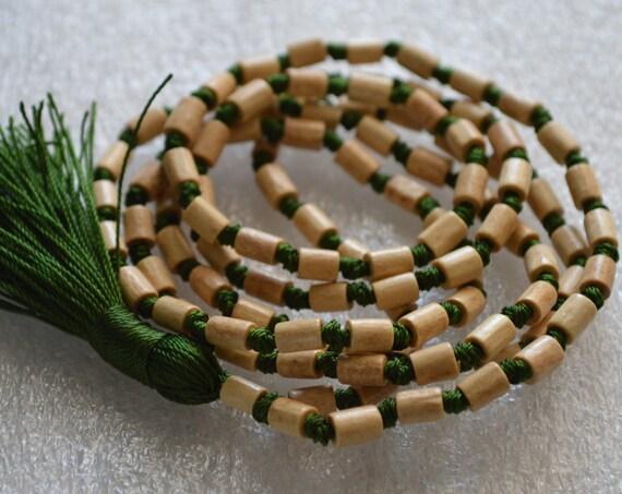 Drum shape Tulsi Holy Basil Prayer Beads Hand Knotted Mala Necklace - Energized Karma Nirvana Meditation 108 Beads For Awakening Chakras