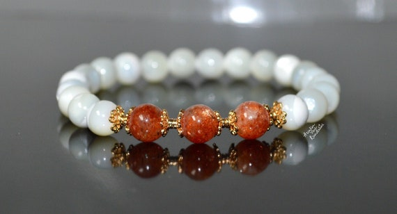 AAAAA Grade 8mm Genuine Sunstone beaded Statement Bracelets Energized Healing Sunstone Beads Natural Gemstone Stacking Handmade Jewelry gift
