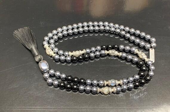 Genuine 8 mm Terahertz Beads Tera Hertz Crystal Bracelet Quantum Energy Terahertz Mala Necklace Beaded AAA Tourmaline Mala Labradorite
