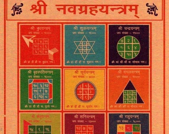 Energized Ashtadhatu Shri Navgrah Yantra Yantram Amulet Activated Siddh Pran pratishthit  Nine Planets Yantra 3.25'' x 3.25''