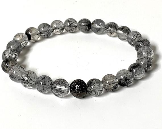 Black Rutilated Tourmilated Quartz stone Protection bracelet chakra bracelet Tourmalated AAA Grade Rutilated quartz Tourmilinated bracelet