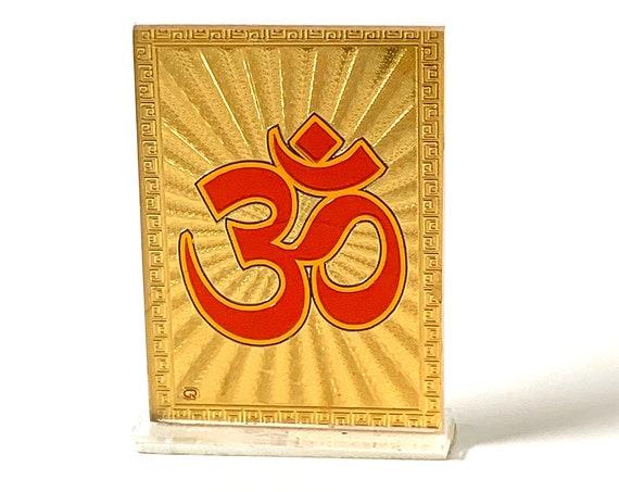 Gold Aum Om Framed Religious Spiritual Gift, Diwali Gift, Minimal, Gold Flower Disc, Yoga Lover, Symbolic, Buddhist Gift, Gold Om Charm,