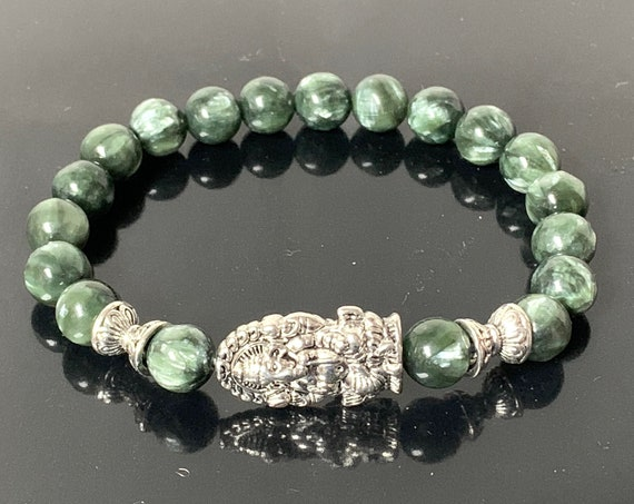 AAA grad Seraphinite Healing Crystal Bracelet, Meaningful Jewelry, Natural Seraphinite Bracelet for Him and Her, Spiritual gift, Clairvoyant