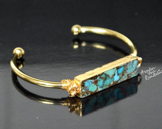 Gold Bangle Raw Turquoise Bracelet Cuff Turquoise Bracelet Adjustable Boho Raw Stone Cuff Raw Brass Mojave Turquoise Cuff Jewelry Gift Idea