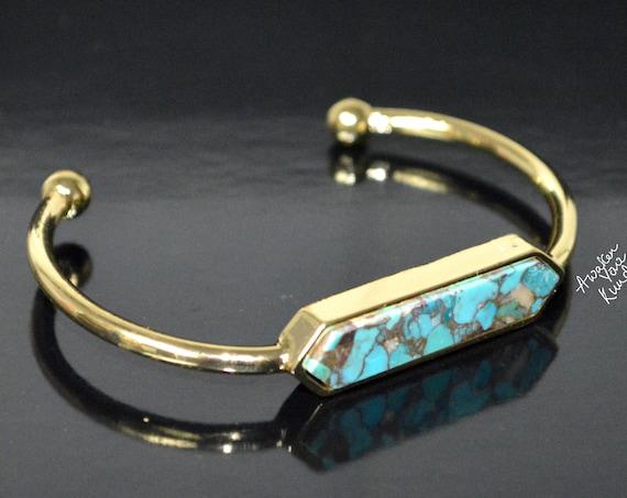 Turquoise Bracelet Raw Turquoise Bracelet Cuff Adjustable Boho Raw Stone Gold Bangle Cuff Raw Brass Mojave Turquoise Cuff Jewelry Gift Idea