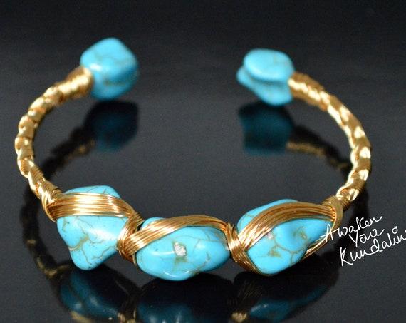 Turquoise Bangle | Rough Stone Bangle | Gemstone Bangle | Handmade Bangle | Brass Bangle | Brass Jewelry | New Design | Gift For Women