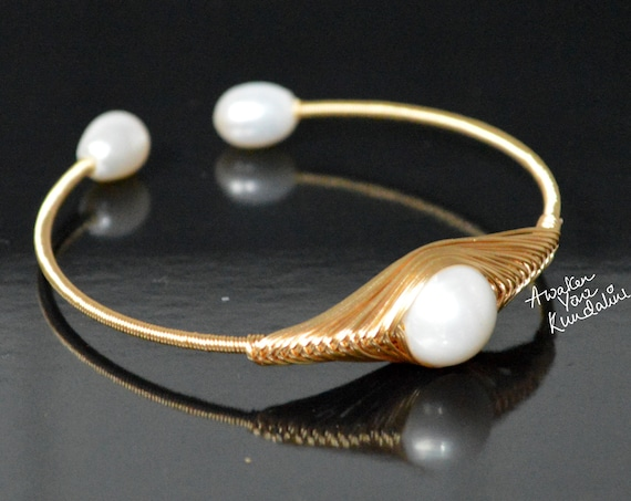 Pearl Bangle | Rough Stone Bangle | Gemstone Bangle | Handmade Bangle | Brass Bangle | Brass Jewelry | New Design | Gift For WomenChristmas