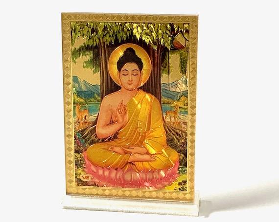 Gold Buddha Framed Religious Spiritual Gift, Diwali Gift, Minimal, Gold Flower Disc, Yoga Lover, Symbolic, Buddhist Gift, Gold Om Charm,
