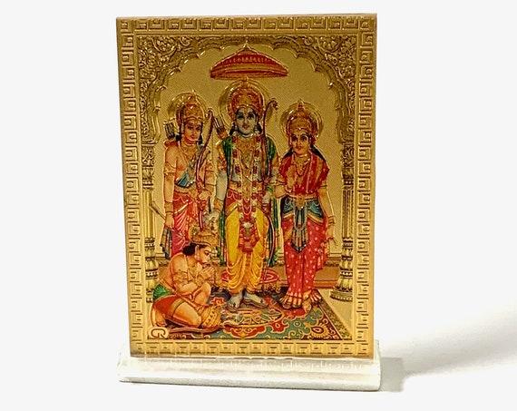 Ram Darbaar - Lord Rama, Sita, Lakshman & Hanuman Ji - Small Acrylic Photo Frame Picture for office, car, bedroom, kitchen..Christmas