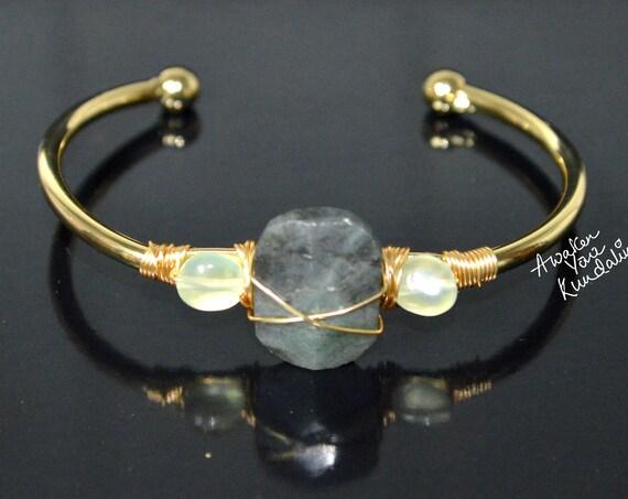 Raw Labradorite Cuff Bracelet | gold bangle, rough stone, labradorite jewelry, raw gemstone jewelry, gift for her, chunky labradorite