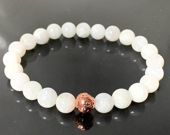 Rainbow moonstone bracelet, Rose Gold beaded bracelet, rose gold bracelet, dainty bracelet, delicate gold bracelet, crystals, Christmas gift