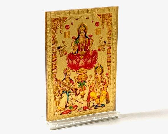 Sri Maha Lakshmi, Ganesha, Maha Saraswati, Sri Yantra Shri Yantram  -High Quality Embossed Printing with Golden accents