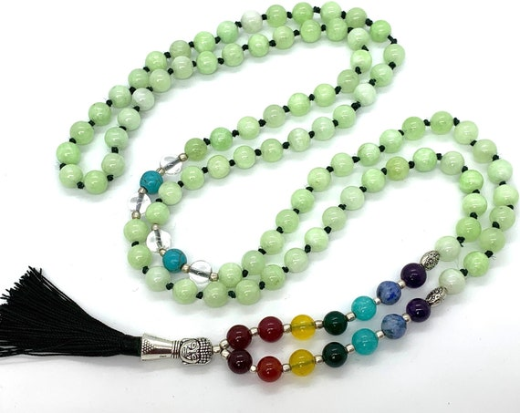108 Seven Chakra Hand Knotted Mala Beads Necklace Karma Nirvana Meditation Prayer Beads, For Awaken Your Kundalini Chakra